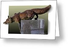 Fox On A Pedestal Greeting Card