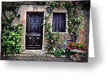 Framed In Flowers Dordogne France Greeting Card