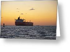 Freight Tanker At Sea - Sunset In Port Aransas Greeting Card