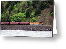 Freight Train Traveling Up The Gorge Greeting Card