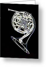 French Horn Color Photo Drawing Greeting Card