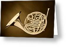 French Horn In Antique Sepia Greeting Card