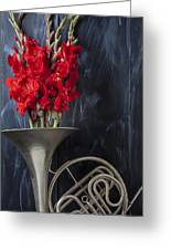 French Horn With Gladiolus Greeting Card