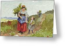 French Peasants On A Path Greeting Card by Daniel Ridgway Knight