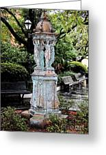 French Quarter Courtyard Statue New Orleans Ink Outlines Digital Art Greeting Card