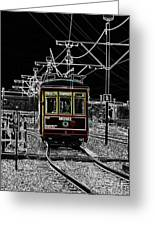 French Quarter French Market Cable Car New Orleans Color Splash Black And White With Glowing Edges Greeting Card
