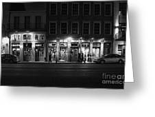 French Quarter Shopping At Night - Black And White Greeting Card