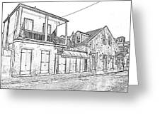 French Quarter Tavern Architecture New Orleans Black And White Photocopy Digital Art Greeting Card