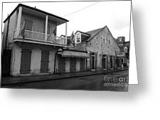 French Quarter Tavern Architecture New Orleans Black And White Greeting Card