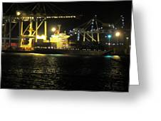 Freo Port By Night Greeting Card