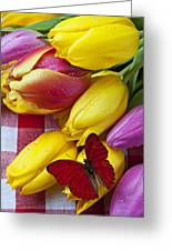 Fresh Tulips And Red Butterfly Greeting Card