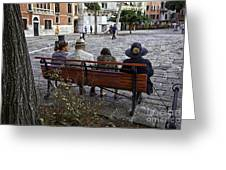 Friends On Park Bench Greeting Card