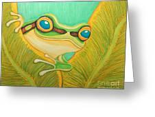 Frog Peeking Out Greeting Card