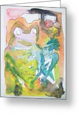 Frog With Fresh Flowers Greeting Card