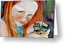 Frogella Greeting Card by Mindy Newman
