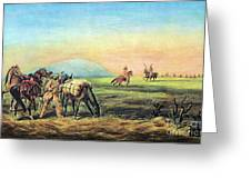 Frontiersmen And Native American Greeting Card