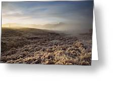 Frosted Fields And Misty Valley Greeting Card
