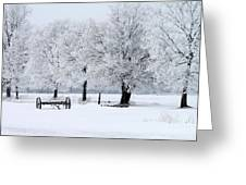 Frosty Morning On Old Wagon Wheels Greeting Card