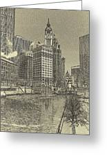 Frozen Chicago River. Greeting Card