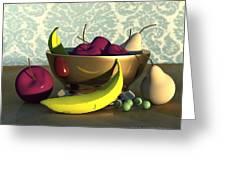 Fruit Bowl With Bananas Greeting Card