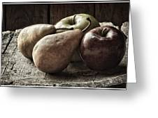 Fruit On A Wooden Stool Greeting Card