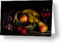 Fruit Still Life With Wine Greeting Card