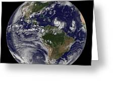 Full Earth Showing Two Tropical Storms Greeting Card