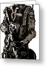 Full Length Figure Portrait Of Swat Team Leader Alpha Chicago Police In Full Uniform With War Gun Greeting Card by M Zimmerman MendyZ
