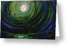 Full Moon Over The Sea Greeting Card