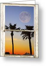 Full Moon Palm Tree Picture Window Sunset Greeting Card