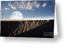 Full Moon Rising Above A Sand Dune Greeting Card