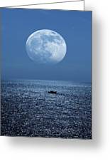 Full Moon Rising Over The Sea Greeting Card