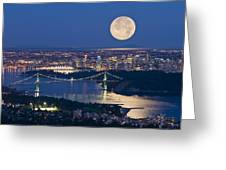 Full Moonrise Over Vancouver, British Greeting Card