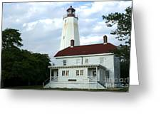 Full View Of Sandy Hook Lighthouse Greeting Card