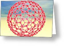 Fullerene Molecule, Computer Artwork Greeting Card by Laguna Design