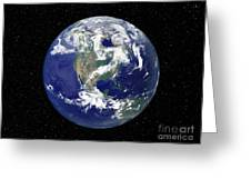 Fully Lit Earth Centered On North Greeting Card