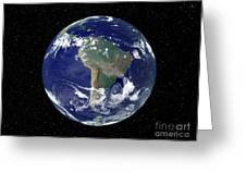 Fully Lit Earth Centered On South Greeting Card by Stocktrek Images