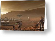 Future Mars Colonists Playing Greeting Card