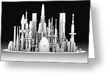 Futuristic Cityscape, Artwork Greeting Card by Pasieka