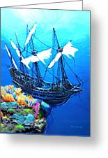 Galleon On The Cliff Filtered Greeting Card