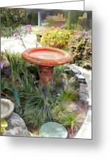 Garden Birdbath Greeting Card