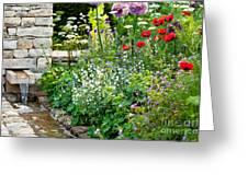 Garden Flowers With Stream Greeting Card