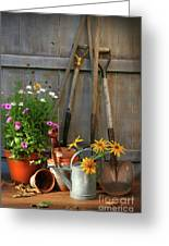 Garden Shed With Tools And Pots  Greeting Card