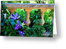 Garden Wall With Periwinkle Flowers Greeting Card