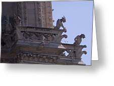 Gargoyles At Notre Dame Cathedral Greeting Card