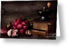 Garlic And Radishes Greeting Card