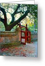 Gate In Brick Wall Greeting Card