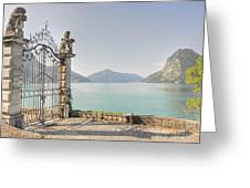 Gate On The Lake Front Greeting Card