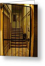 Gated Stairwell At Night Greeting Card