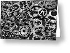 Gears Of Time Black And White Greeting Card
